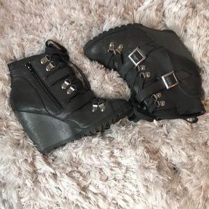 Qupid Black Lace Wedge Booties